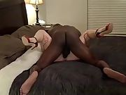 Cuckold bareback bbc action while hubby works